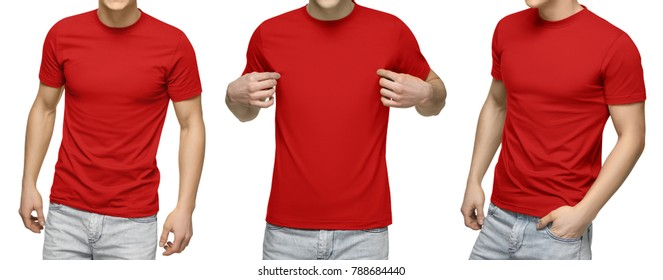 Young male in blank red t-shirt, front and back view, isolated white background with clipping path. Design men tshirt template and mockup for print.