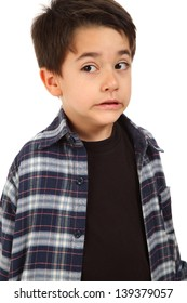 Young male boy with fear expression on white background