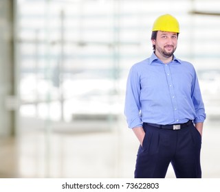 Young male engineer isolated
