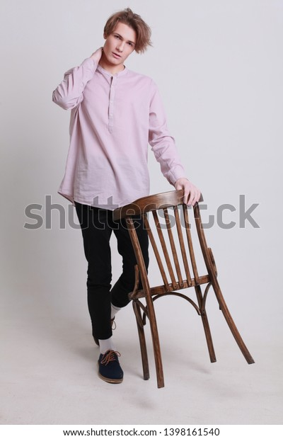 Young Male Fashion Model Posing Portrait Stock Photo Edit Now 1398161540