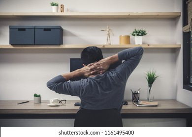 Young male freelancer with computer in room area, Freelance artist creative  designer skill lifestyle concept