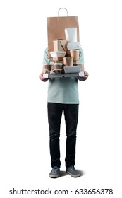 Young male holding pizza box, take-out food containers, coffee cups in holder and paper bag, close-up. White background, isolated. Delivery man.