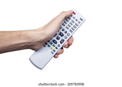 Young Male Holding Remote Controller and pressing  button