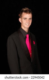 Young male model in suit with a beautiful smile