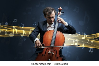 Young male musician playing on his cello with musical notes around