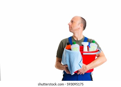 young male professional cleaner in front of white background