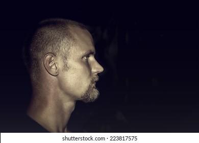 Young male profile portrait/Male portrait/Studio