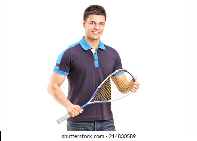 Young male racquetball player isolated on white background