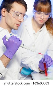 Young male researcher pipetting red liquid in the glass tube in the (forensics, microbiology, biochemistry, genetics ) laboratory. Female assistant science student watching and learning the protocol.