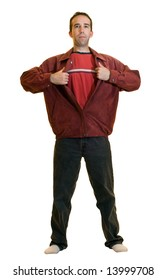 A young male ripping open a red jacket pretending to be a super hero, isolated on a white background