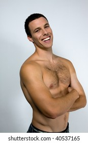 Young male smileing