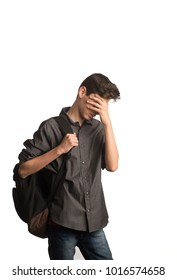 Young male teen covering his eyes