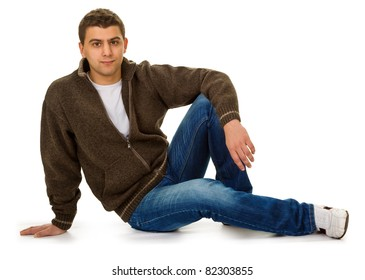 young man advertises a walking clothes
