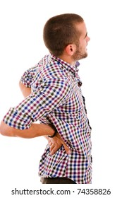 young man in agony with back pain, isolated on white