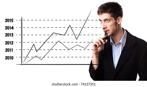 Young man analysing graph on the whiteboard