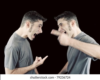 A young man in an argument with himself - concept of inner struggle.