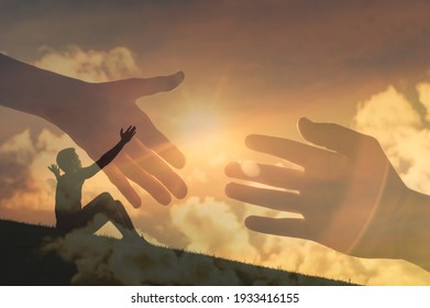 Young man with arms up to the sky asking for help. Helping hand, and salvation concept.