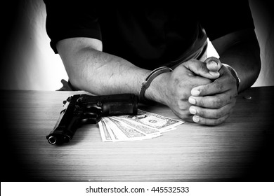 Young man arrested with evidence black and white tone