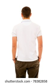 Young man from back, isolated on white