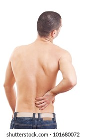 Young man with back pain, isolated in white background