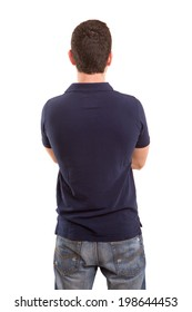 Young man with back turned to camera