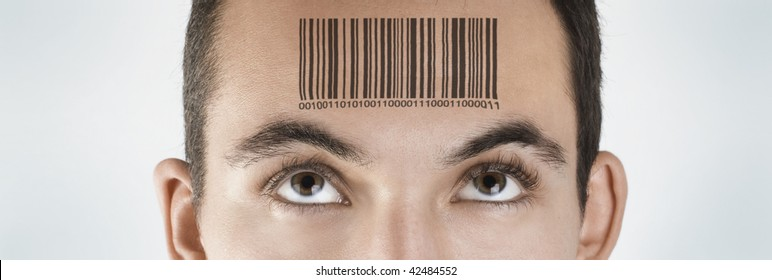 Young man with a bar code printed in his forehead . A conceptual image that can be used in requirements, sales, business, marketing, etc.