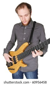 young man with beard in grey shirt playing bass guitar, half body, vertical, isolated