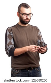 Young man with beard holding cell phone