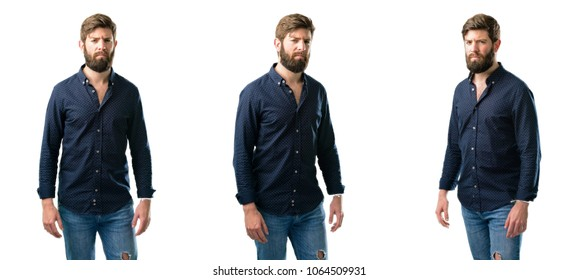 Young man with beard irritated and angry expressing negative emotion, annoyed with someone isolated over white background