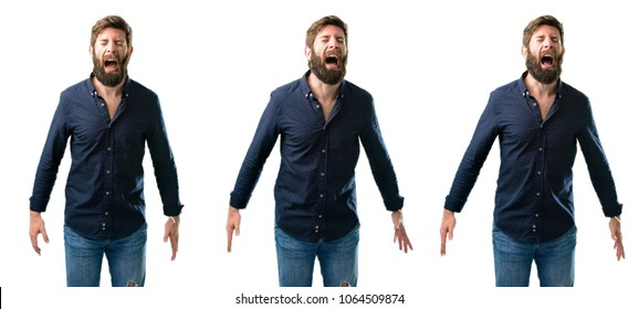Young man with beard stressful, terrified in panic, shouting exasperated and frustrated. Unpleasant gesture. Annoying work drives me crazy isolated over white background