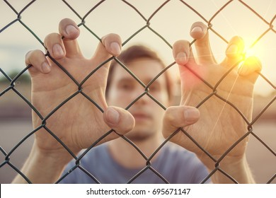 Young man behind wired fence. Immigration concept.