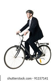 Young man with bicycle and helmet isolated on white background