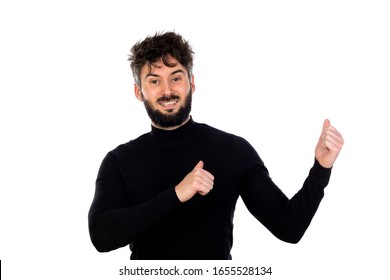 Young man in black isolated on a white background