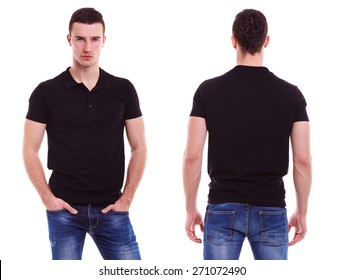 Young man with black polo shirt on a white background
