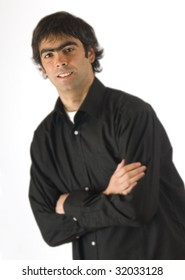 young man in black shirt and idly