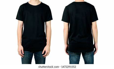 Young man in blank black t-shirt isolated on white background, Front and back views of mock up for design print.