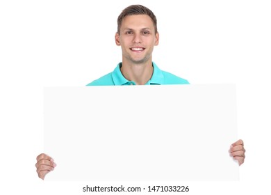 Young man with blank board on white background