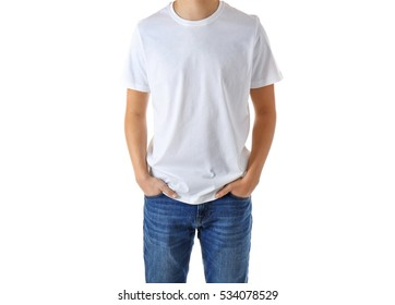 Young man in blank t-shirt on white background, close up