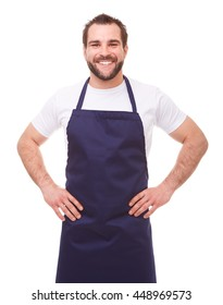 Young man with blue apron on white background
