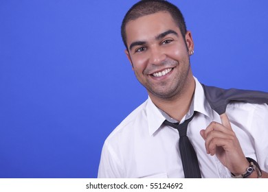 young man in blue background