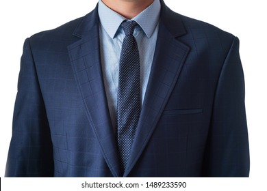 Young man in a blue suit, isolate