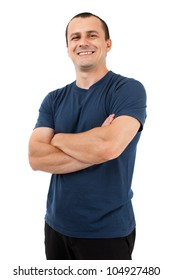 Young man with blue t-shirt, isolated on white background
