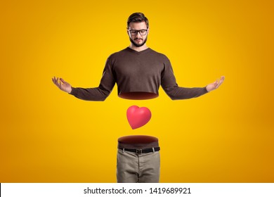 Young man with body cut in two at waist, upper body in air, with cute red valentine heart levitating between upper and lower body. Way to heart is through stomach. Emotional health. Love yourself.