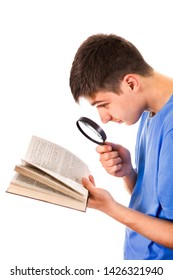 Young Man with a Book and Magnifying Glass on the White Background