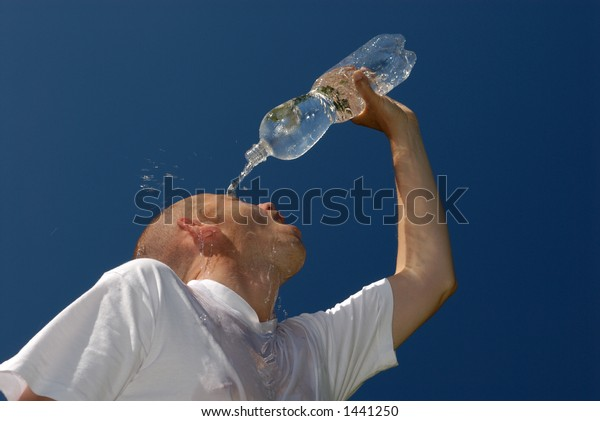 Young man with a bottle of water.