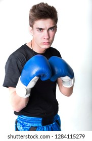 young man boxing isolated