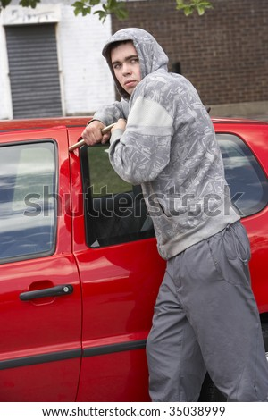 Young Man Breaking Into