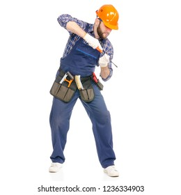 Young man builder with toolbelt screwdriver industry worker hardhat on white background isolation