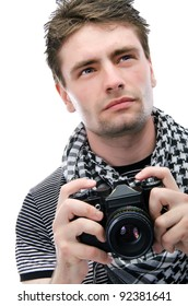 Young man with a camera, isolate