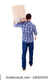 Young man carrying a card box, isolated on white
